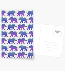 Follow The Leader - Painted Elephants in Purple, Royal Blue, & Mint Postcards