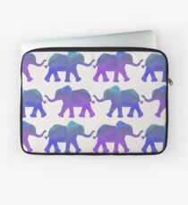 Follow The Leader - Painted Elephants in Purple, Royal Blue, & Mint Laptop Sleeve