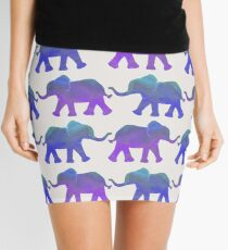 Follow The Leader - Painted Elephants in Purple, Royal Blue, & Mint Mini Skirt