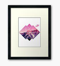 pink sunset mountains LOGO  Framed Print