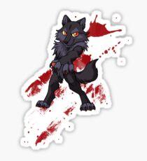 Cute anthro black wolf Sticker