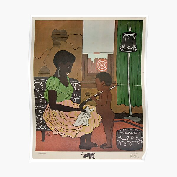 Mother and Child - Black Panthers - Vintage Poster Poster