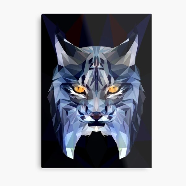 Lynx Low-poly Metal Print