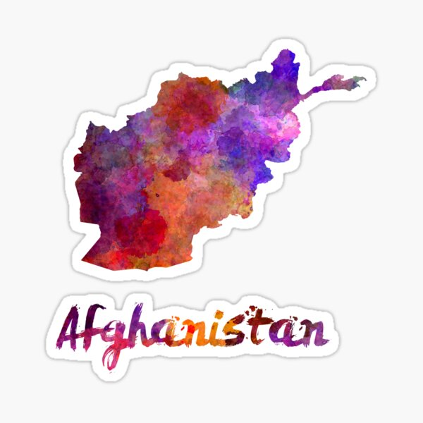Afghanistan in watercolor Sticker