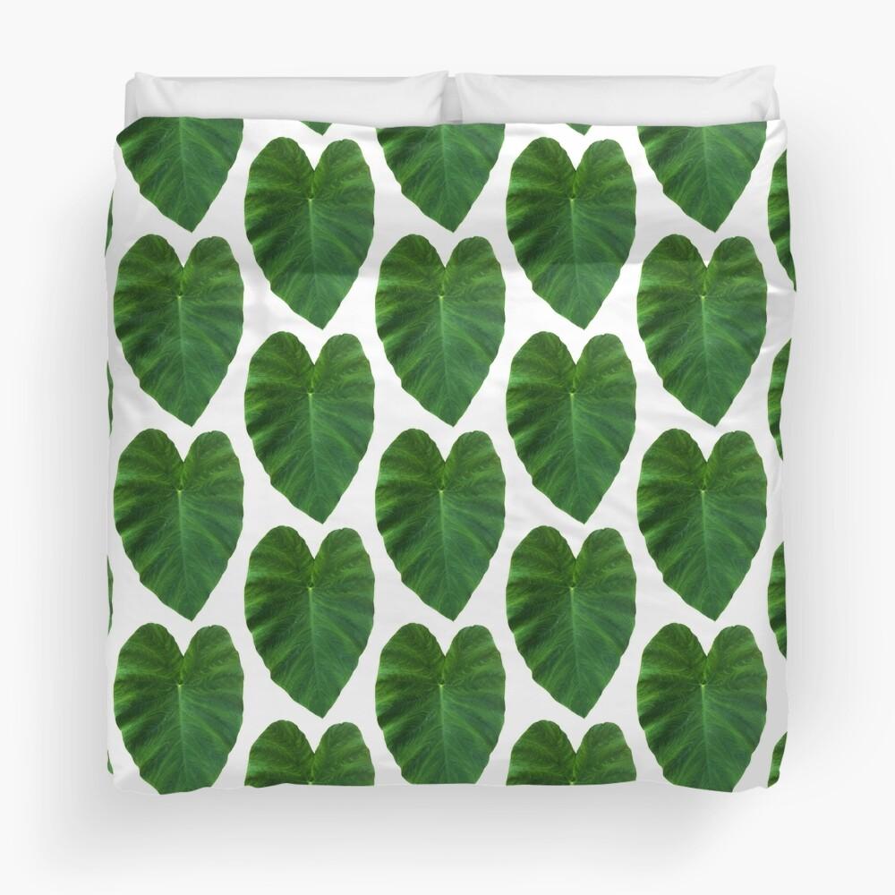Green Heart Leaf Duvet Cover