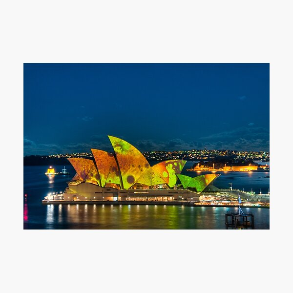 Vivid Opera House with Fort Denison Photographic Print