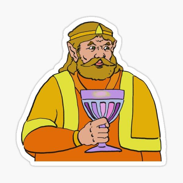 Re-tirage de haute qualité du roi harkinien tenant un gobelet. Sticker