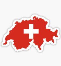Flag Map of Switzerland  Sticker