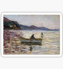Vintage famous art - Vassily Kandinsky - Rapallo Boot Im Meer  Sticker