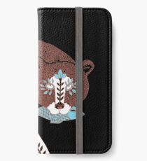 Folk Art Spirit Bear with Fish iPhone Wallet/Case/Skin