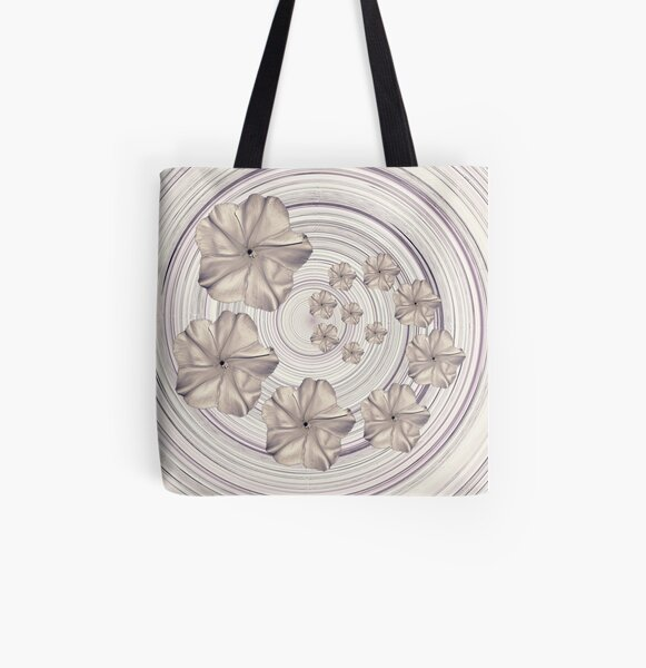 Spiral Creamy Moon Flower Swirl  All Over Print Tote Bag