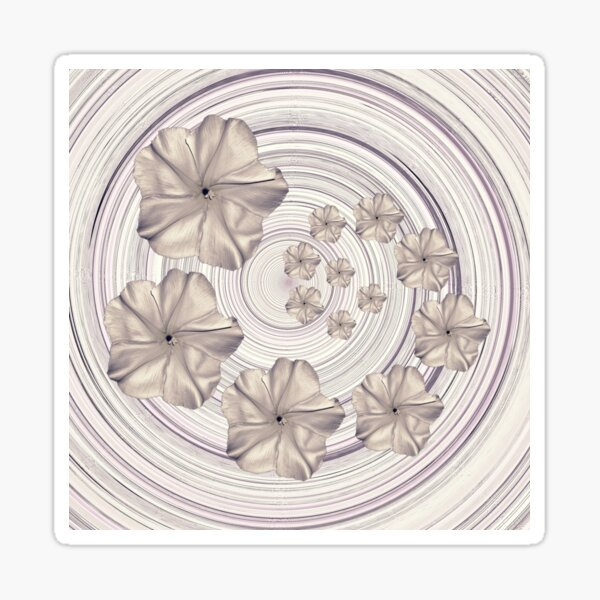 Spiral Creamy Moon Flower Swirl  Sticker