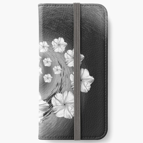 Black White and Grey Moon Flower Swirl  iPhone Wallet