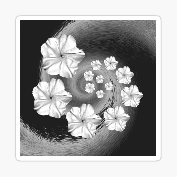 Black White and Grey Moon Flower Swirl  Sticker