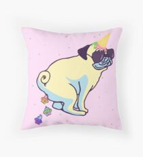 my pug is a unicorn and poops cupcakes Throw Pillow