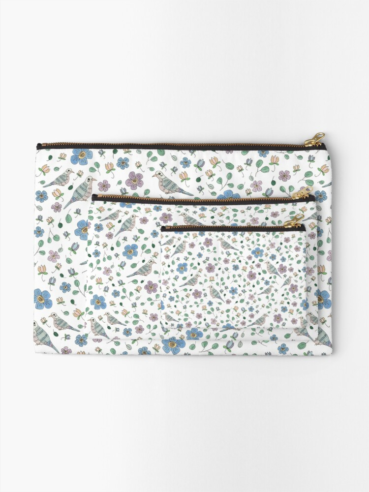 Alternate view of Spring Garden Mourning Doves Pattern Zipper Pouch