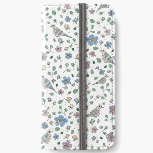 Spring Garden Mourning Doves Pattern iPhone Wallet