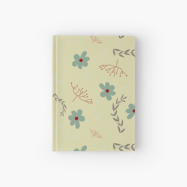 Muted Turquoise and Red Foliage Pattern Hardcover Journal