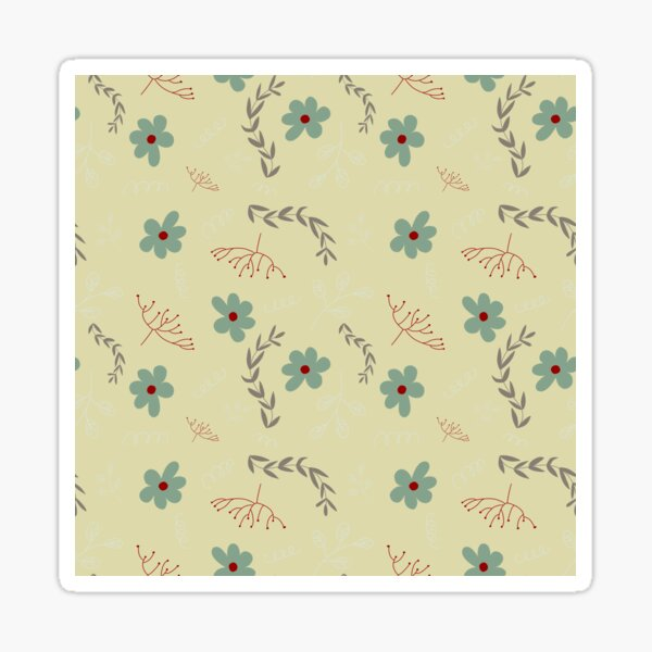 Muted Turquoise and Red Foliage Pattern Sticker