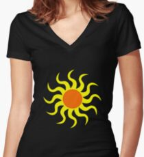 Sun van Gogh's style vector Women's Fitted V-Neck T-Shirt