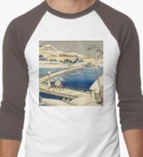 Vintage famous art - Hokusai Katsushika - Pontoon Bridge At Sano, Kozuke Province, Ancient View Men's Baseball ¾ T-Shirt
