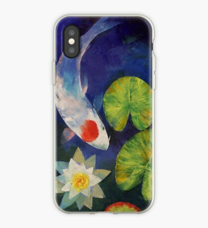Tancho Koi and Water Lily iPhone Case