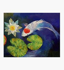 Tancho Koi and Water Lily Photographic Print