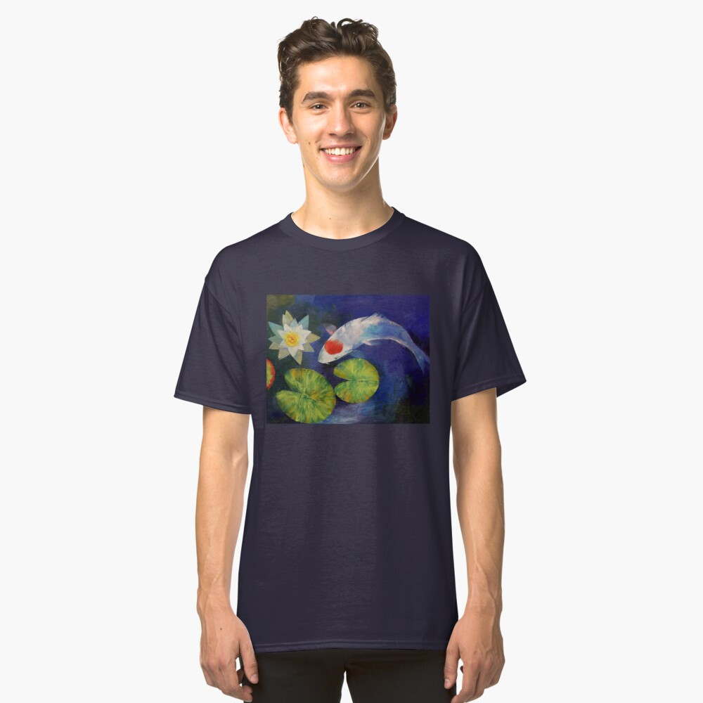 Tancho Koi and Water Lily Classic T-Shirt Front