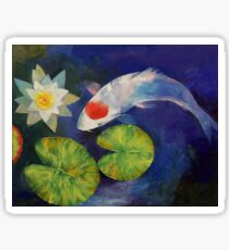 Tancho Koi and Water Lily Sticker