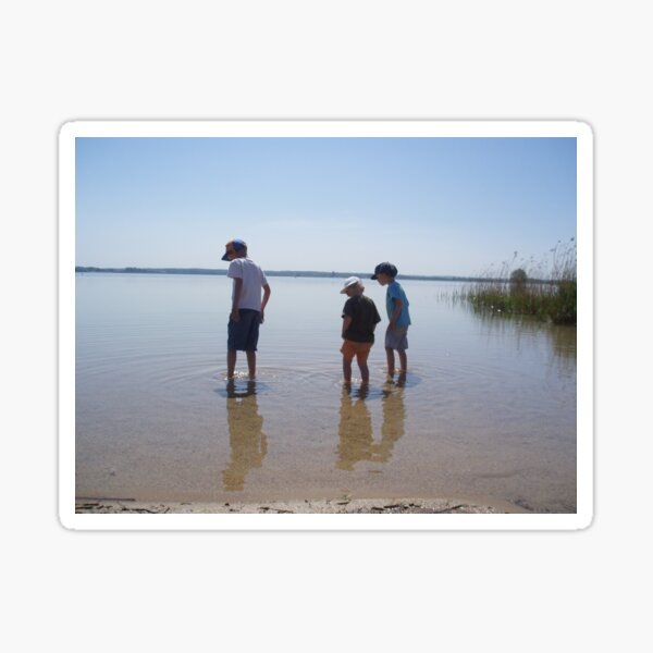 3 children at a lake Sticker