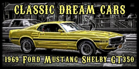 Classic 1969 Ford Mustang Shelby Gt350 Muscle Car Poster By Christopher Mccabe