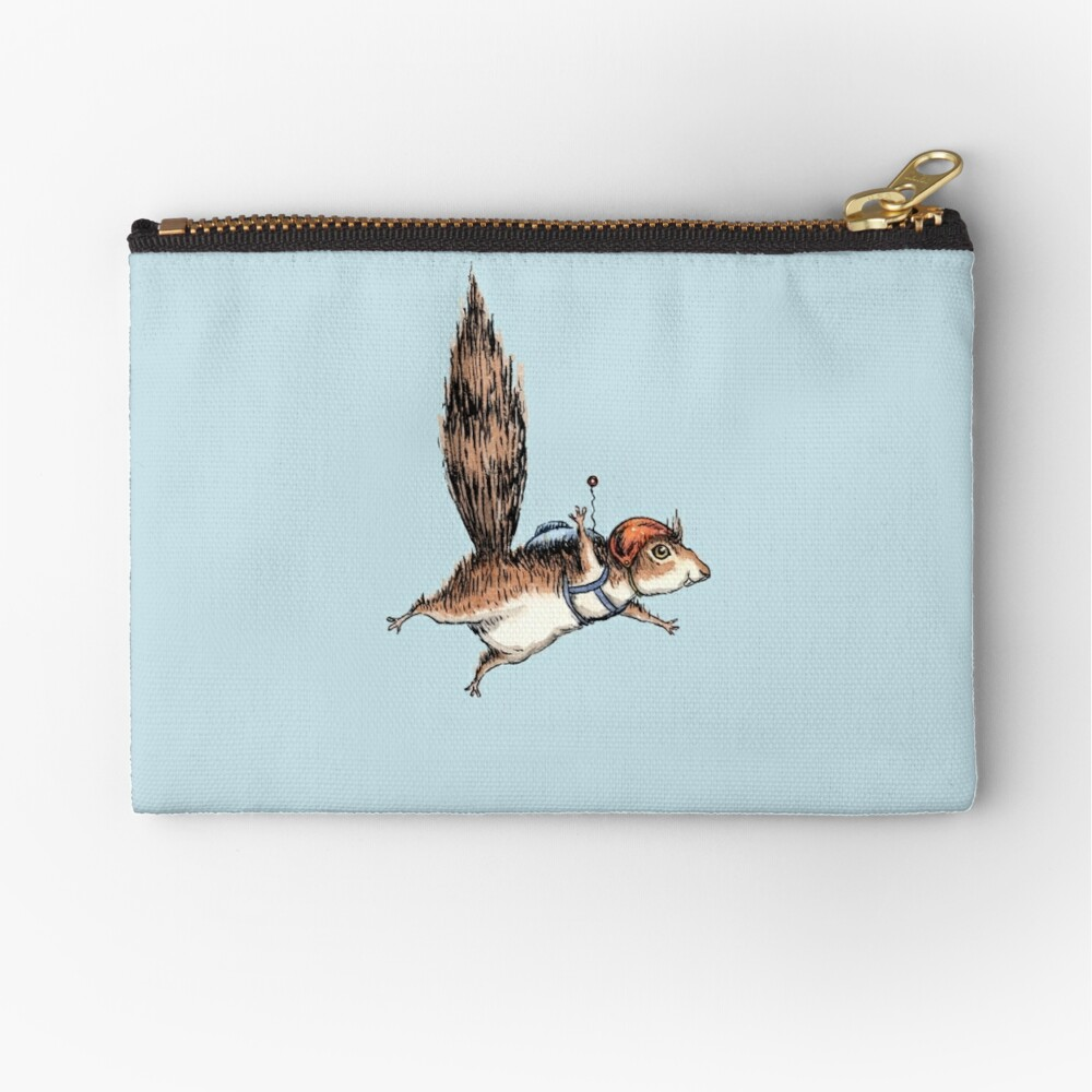 Skydiver Squirrel Zipper Pouch