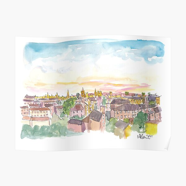 Rooftop View of Oxford England Poster