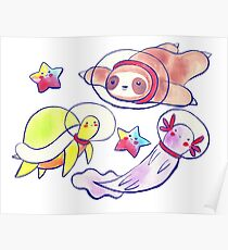 Space Sloth Turtle and Axolotl Poster