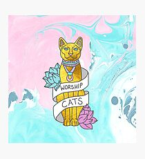 Cats Egypt Pyramid Gold Kitten Pets tabby tumblr gold typography kawaii meow print Photographic Print