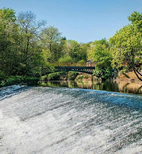 Newlay Top Weir and Pollard Bridge by Colin Metcalf