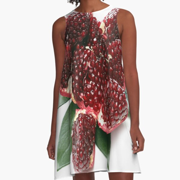 Sliced Organic Pomegranate in the Kitchen A-Line Dress