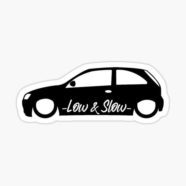 2x LOW RIDE 4 door saloon Vauxhall Nova Opel Corsa outline sticker LR200