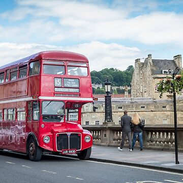 Red Vintage Double Decker Bus by bms-photo