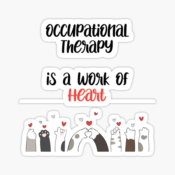 Occupational Therapy Work of Heart Cat Paw Hearts Sticker