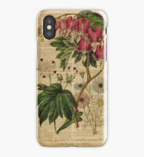 Botanical print, on old book page - flowers iPhone Case