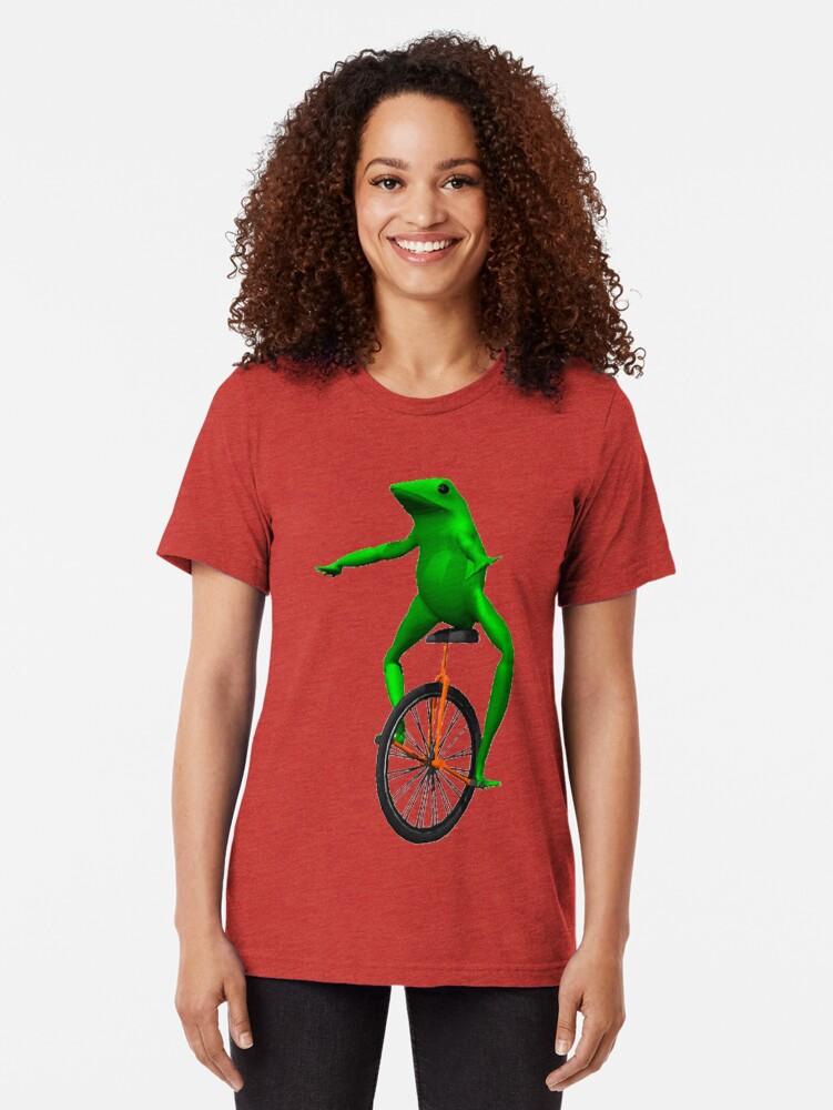 Alternate view of dat boi meme / unicycle frog  Tri-blend T-Shirt