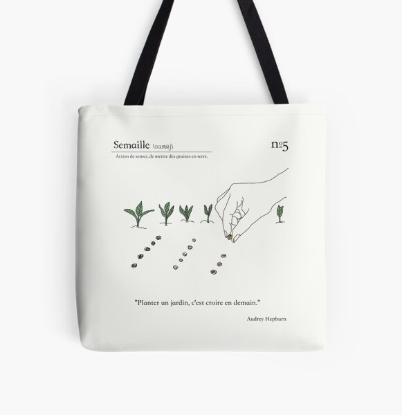 Gardening in French / Sowing All Over Print Tote Bag