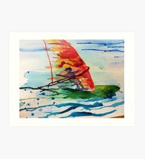 Windsurfing watercolour Art Print