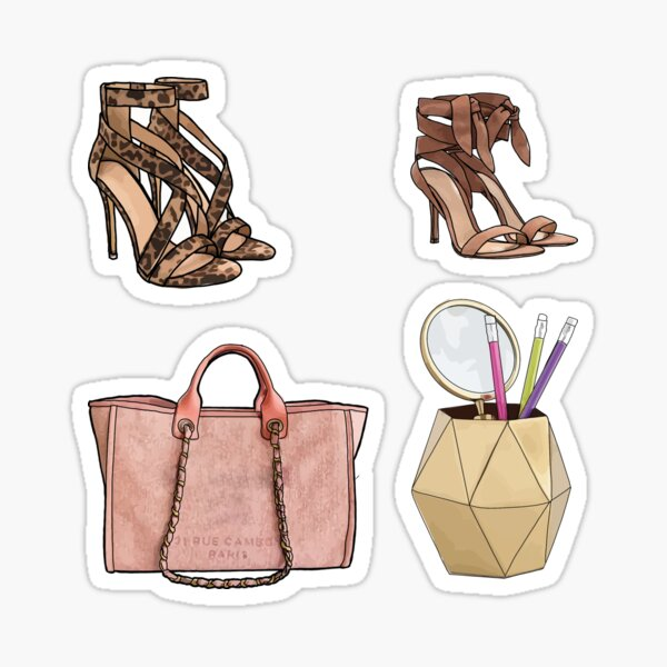 Strappy Heels, Purses and Pencils Set Sticker