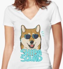 SHIBA SQUAD (red) Women's Fitted V-Neck T-Shirt