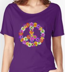 Peace Sign Floral Women's Relaxed Fit T-Shirt