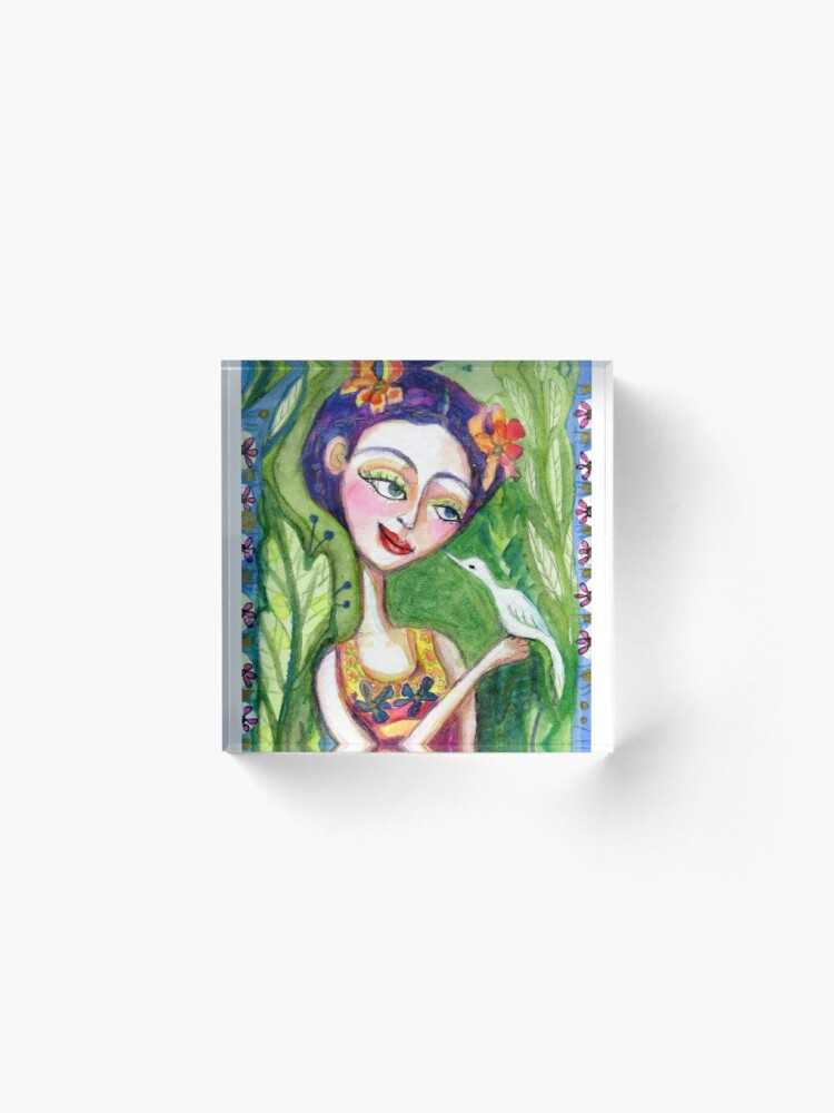 Alternate view of frida kahlo spring floral with bird meloearth portrait celebrity cute woman, mexican artist, flowers foliage        Acrylic Block
