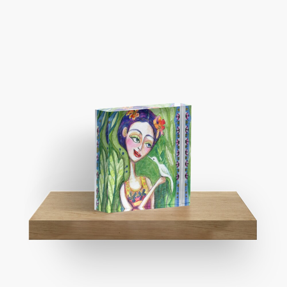 frida kahlo spring floral with bird meloearth portrait celebrity cute woman, mexican artist, flowers foliage        Acrylic Block
