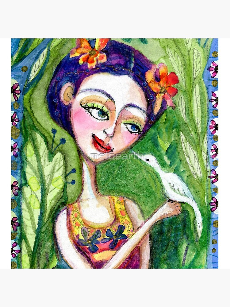 frida kahlo spring floral with bird meloearth portrait celebrity cute woman, mexican artist, flowers foliage        by meloearth